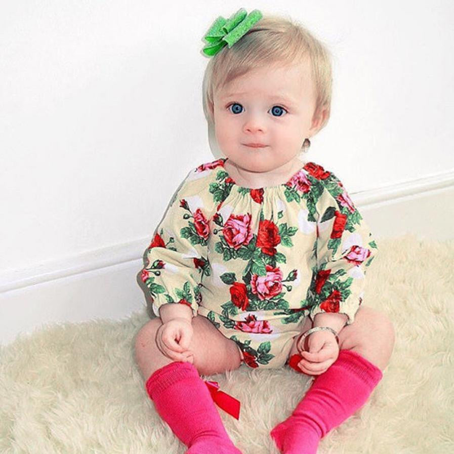 Newborn Baby Girls Floral Rompers Summer Clothing Long Sleeve Jumpsuit Clothes Outfits for Girl Infantis
