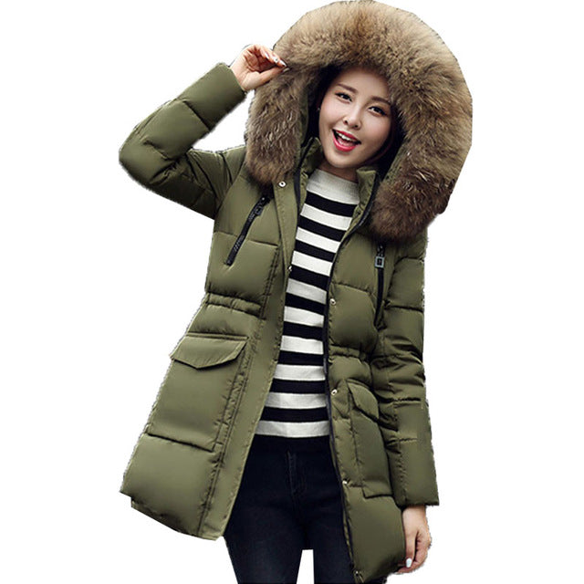 Winter Women Coat Long Down Cotton Coat Fur Collar Thick Hooded Jacket Parka