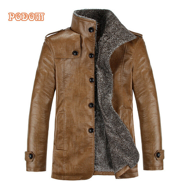 Vintage PU Leather Jackets Men's Winter Warm Thicken Faux Fur Fleece Liner Men Jacket Windproof Stand Collar Slim Fit Male Coat