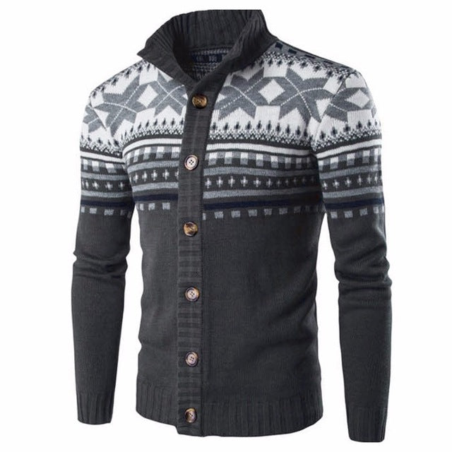 Autumn Winter Chic Knitted Sweater Cardigan Men Chrismas Knitwear Vintage Ethnic Style Long Sleeve Sweaters Jacket Male Coat
