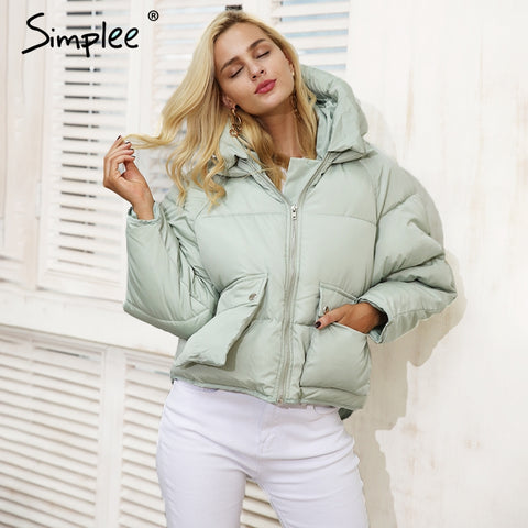 Simplee Zipper pocket hooded loose coat parka Women casual padded outerwear parkas 2017 Autumn winter warm parka overcoat female