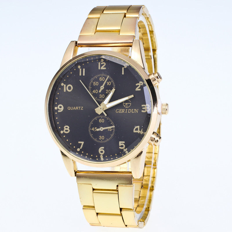 Mens Watches Diamond Dial Steel Analog Quartz Wrist Watch