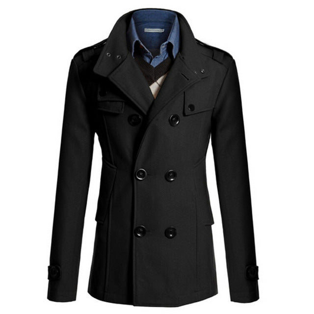Men's Trench Jacket Business Formal Smart Woolen Jackets Casual Office Slim Male Overcoat 2017 Winter Men Windbreaker Suits Coat