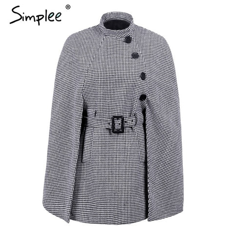 Simplee Hounstooth long sleeve winter cape coat Women belt outerwear coats 2017 Autmn casual split streetwear cloak overcoat