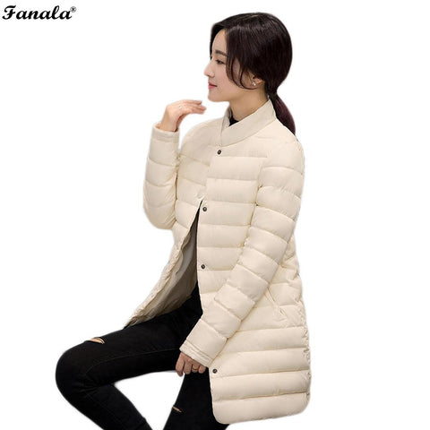 Women Winter Jacket Thin Winter Coat Women Parka 2017 Fashion Medium-long Stand Collar Down Cotton-padded Women Tops Outerwear