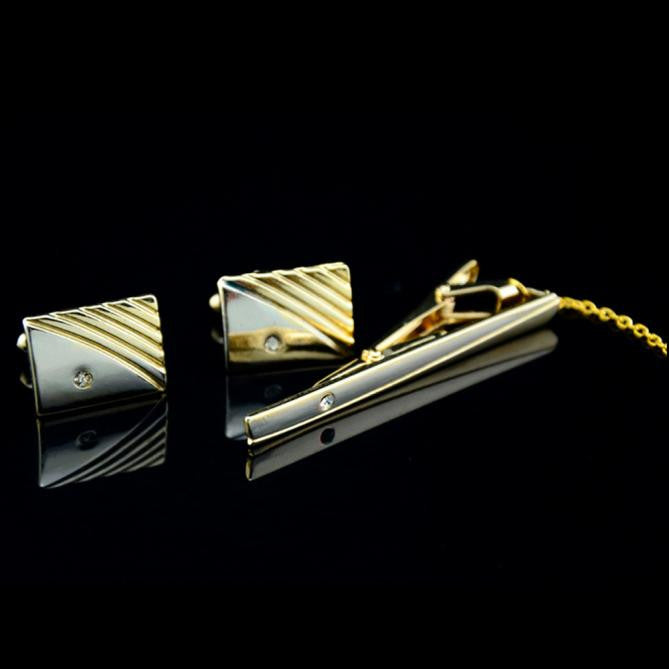 Diamond Tie Clip Cufflinks Suit Lapel Mens Wedding Gift Cuff Link Set GD