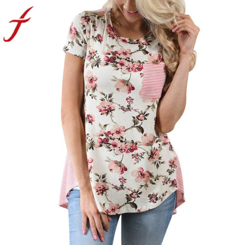Summer Women T-Shirt Casual Short Sleeve Stripe Floral Flower Printed Blusa Casual O-Neck Pocket Female Fashion Summer Tops