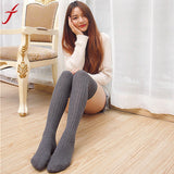 Fashion Winter Thick Socks Women Ladies Over The Knee Thigh High knitting Stretch Cotton Socks Girls