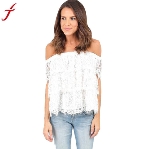 Summer White Blouse Women Sexy Off Shoulder Short Sleeve Layered Tops Elegant Lace Blouse Shirt#LSN