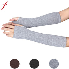 Fashion Women Gloves Winter Wrist Arm Hand Warmer Knitted Long Fingerless Gloves Mitten Coffee Gray Black
