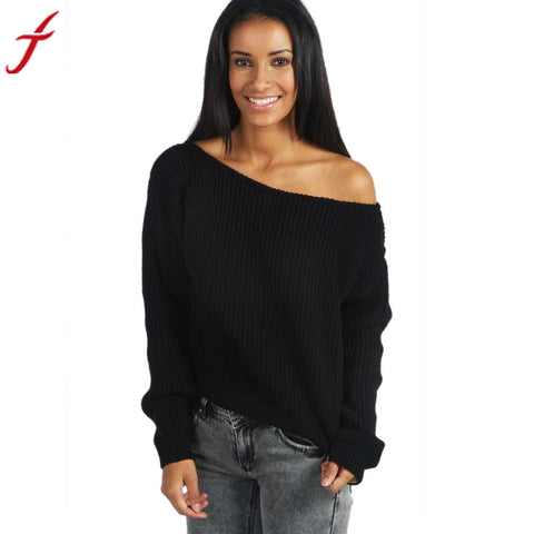 2016 Fashion Womens Blouse Sexy Off Shoulder Baggy Ladies Top Chunky Knit Knitted Oversize Sweater #LSIN