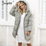 Simplee Winter padded hooded coat parka Women casual pocket warm outerwear parkas Zipper streetwear parka overcoat female