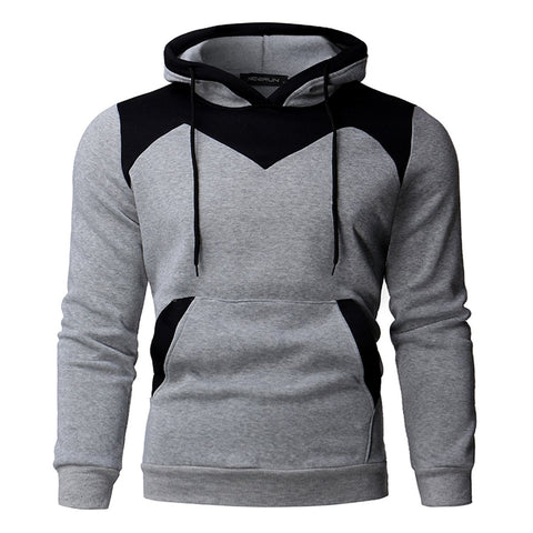 2017 Fleece Hoodies Men Color Stitching Velvet Tracksuit Pullovers Mens Slim Fit Long Sleeve Hooded Sweatshirt Autumn Winter