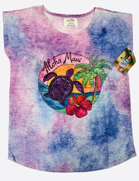 NEW! Kai Wahine Designs Palm Turtle Women's Burnout Dolman Tee