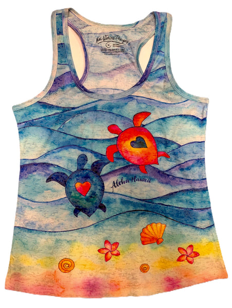 Kai Wahine Designs Happy Honus Women's Burnout Racer Back Tank