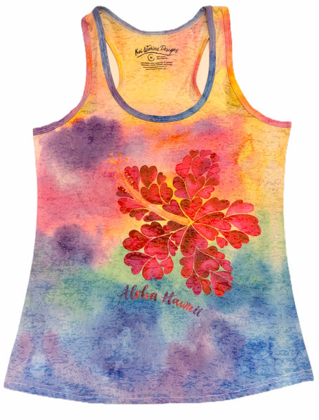 Kai Wahine Designs Hibiscus Women's Burnout Racer Back Tank