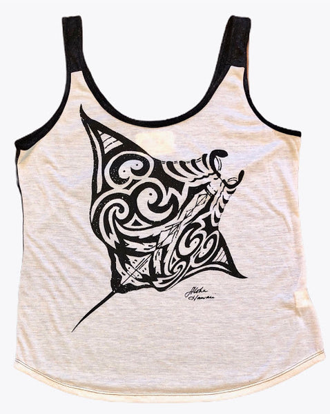 Hawaiian Drift Womens 100% Made in Hawaii Black Manta Tank