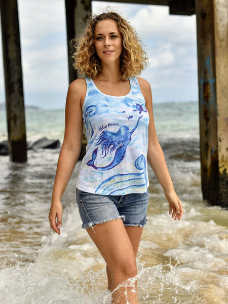 Kai Wahine Designs Mermaid Women's Burnout Racer Back Tank