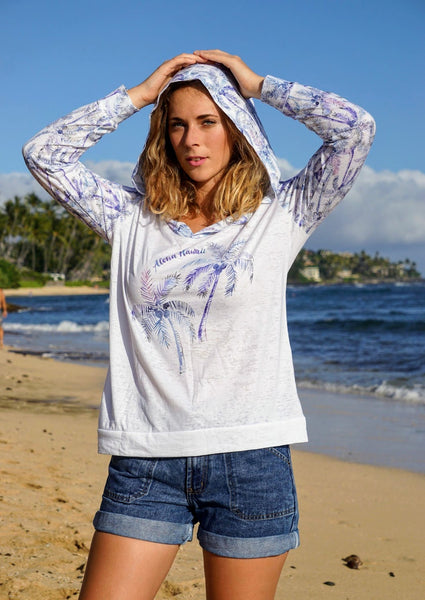 Kai Wahine Designs Palm Paradise Printed Women's Burnout Lightweight Hoodie