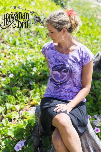 Hawaiian Drift Womens 100% Made in Hawaii Dolman Tee - Purple Tattoo Honu