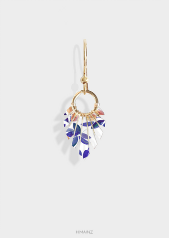 blue & brown floral earrings with silver