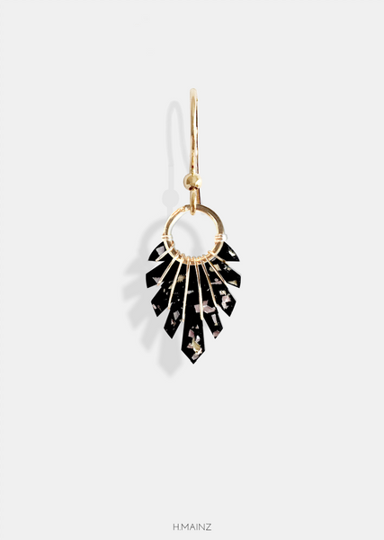 black & shiny bits earrings with gold