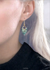 green print earrings with gold
