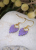 Dusty purple earrings with gold