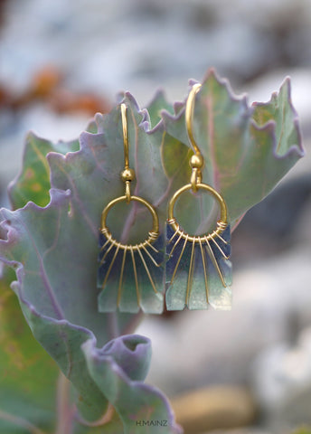 Blue and green fade earrings with gold