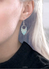 blue opal print earrings with silver 0205