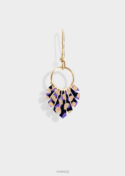 blue and copper pattern earrings with gold