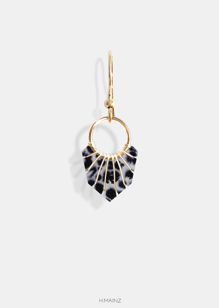 black & grey leopard print with gold earrings- jewelry designed by ...