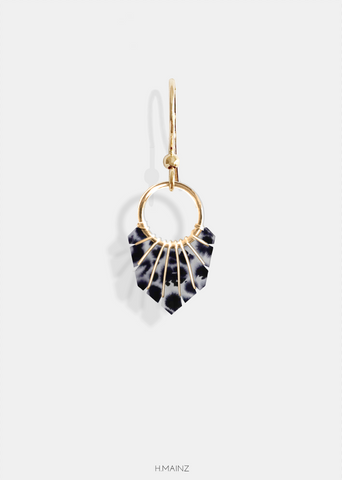 black & grey leopard print earrings with gold 1503