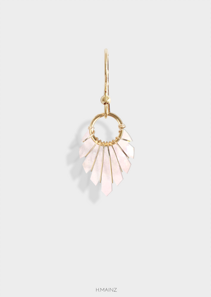 glossy light pink earrings with gold 0111