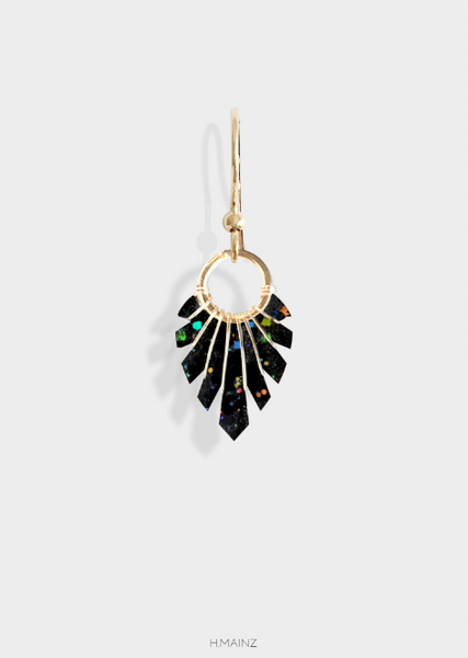 black and multi colored spark earring with gold