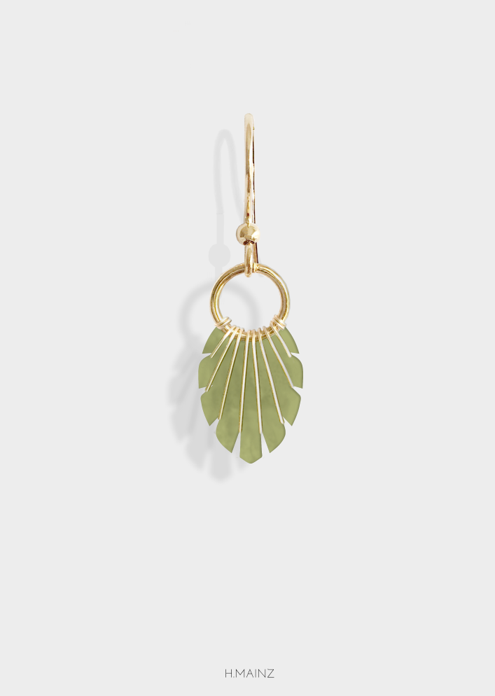 green earrings with gold 1007