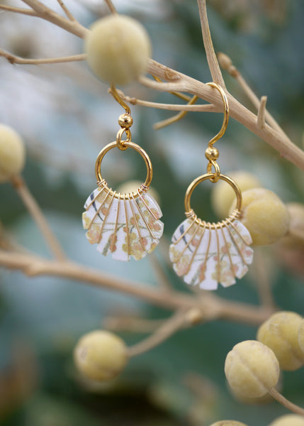 Yellow print earrings with gold