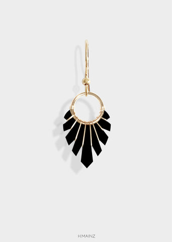 black earrings with gold