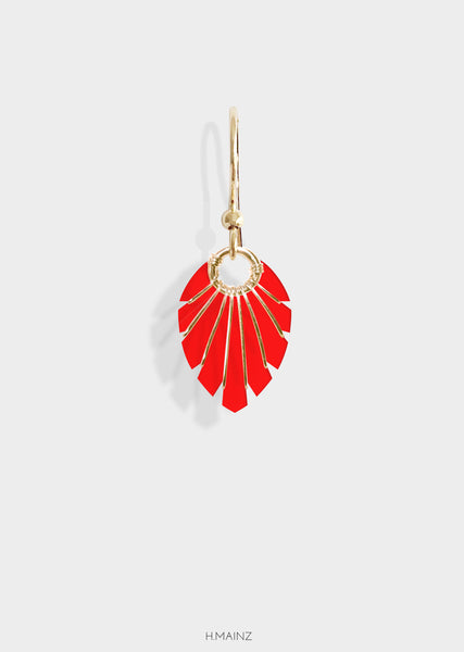 red earrings with gold