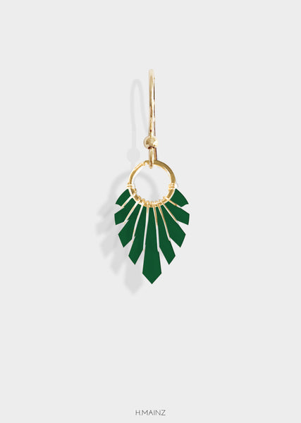 Dark green earrings with gold