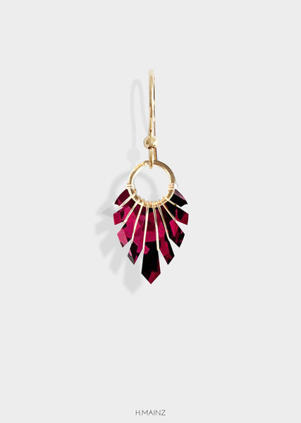 Dark red patterned earrings with gold
