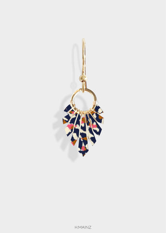 Blue & pink patterned earrings with gold