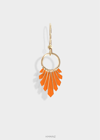 dark orange earrings with gold