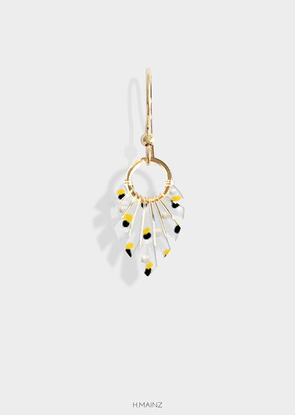 yellow & pearl spotted earrings with gold