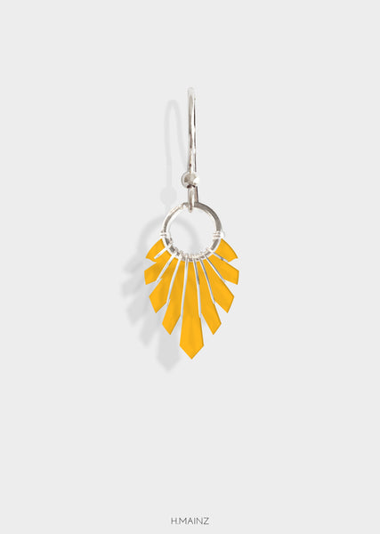 orange earrings with silver