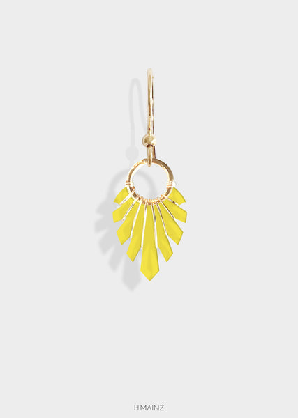 yellow transparent earrings with gold
