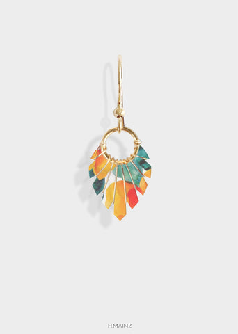 orange floral earrings with gold
