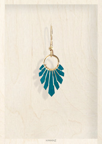 Dark bluegreen earrings with gold