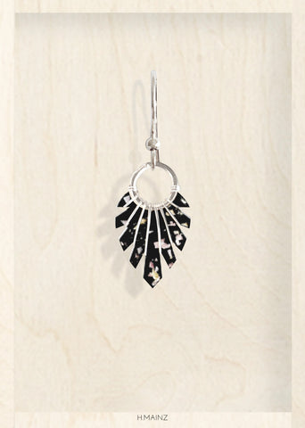 black & shiny bits earrings with silver