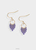 Dusty dark purple earrings with gold